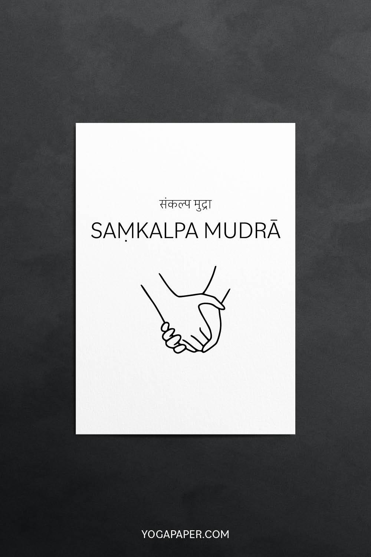 A simple illustration of Sankalpa Mudra with Sanskrit mame